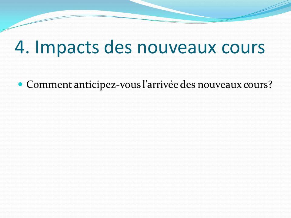 4. Impacts des nouveaux cours Comment anticipez-vous larrivée des nouveaux cours?