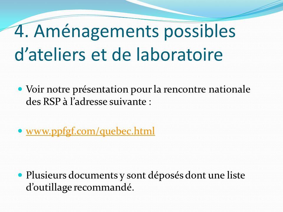 4. Aménagements possibles dateliers et de laboratoire Voir notre présentation pour la rencontre nationale des RSP à ladresse suivante : www.ppfgf.com/