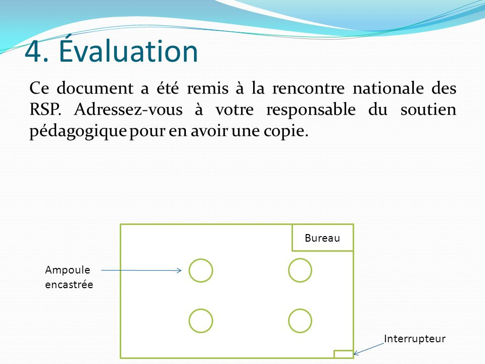 4. Évaluation Ce document a été remis à la rencontre nationale des RSP. Adressez-vous à votre responsable du soutien pédagogique pour en avoir une cop