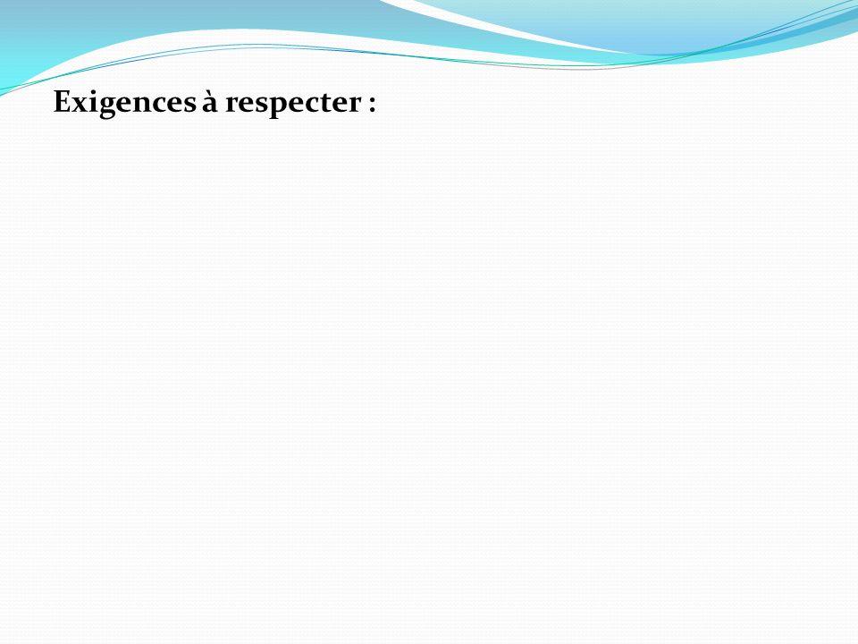 Exigences à respecter :