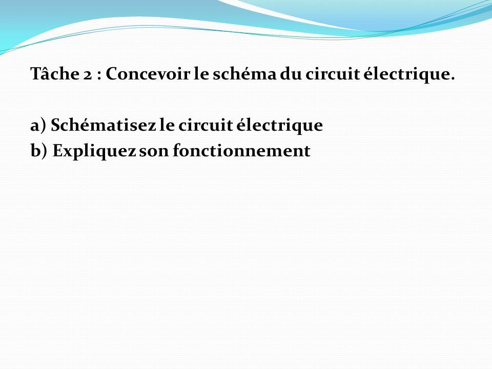 Tâche 2 : Concevoir le schéma du circuit électrique. a) Schématisez le circuit électrique b) Expliquez son fonctionnement