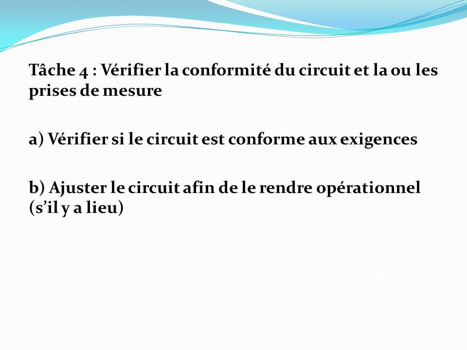 Tâche 4 : Vérifier la conformité du circuit et la ou les prises de mesure a) Vérifier si le circuit est conforme aux exigences b) Ajuster le circuit a