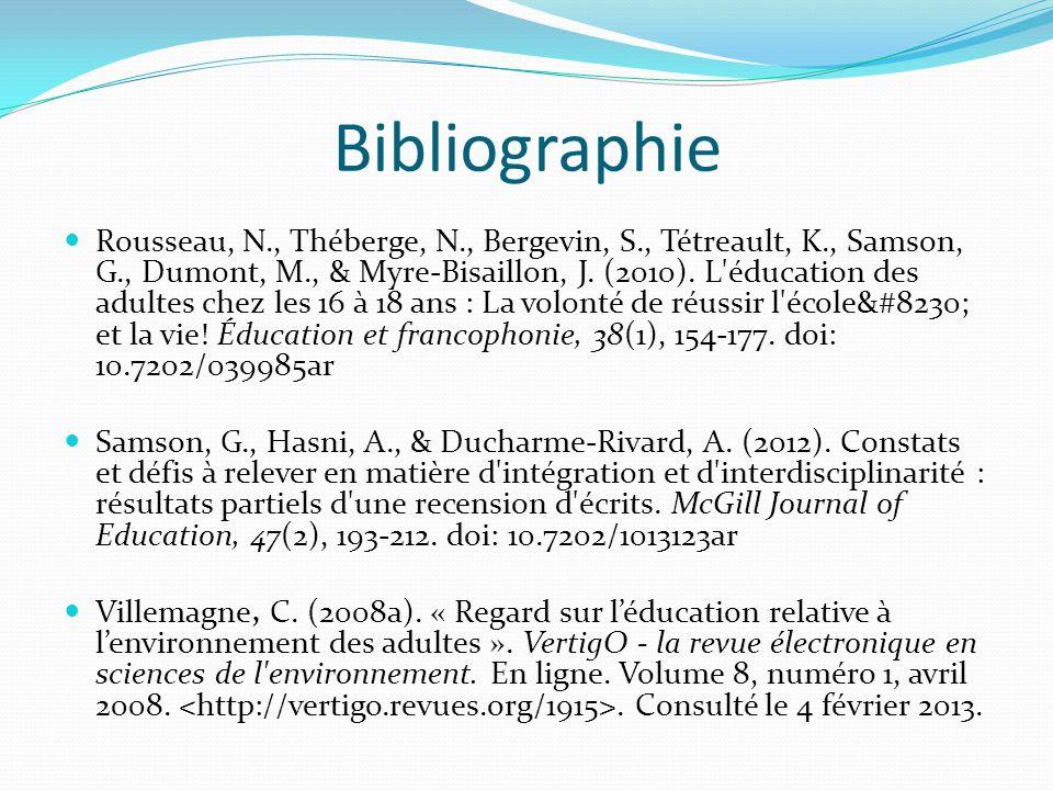 Bibliographie Rousseau, N., Théberge, N., Bergevin, S., Tétreault, K., Samson, G., Dumont, M., & Myre-Bisaillon, J. (2010). L'éducation des adultes ch