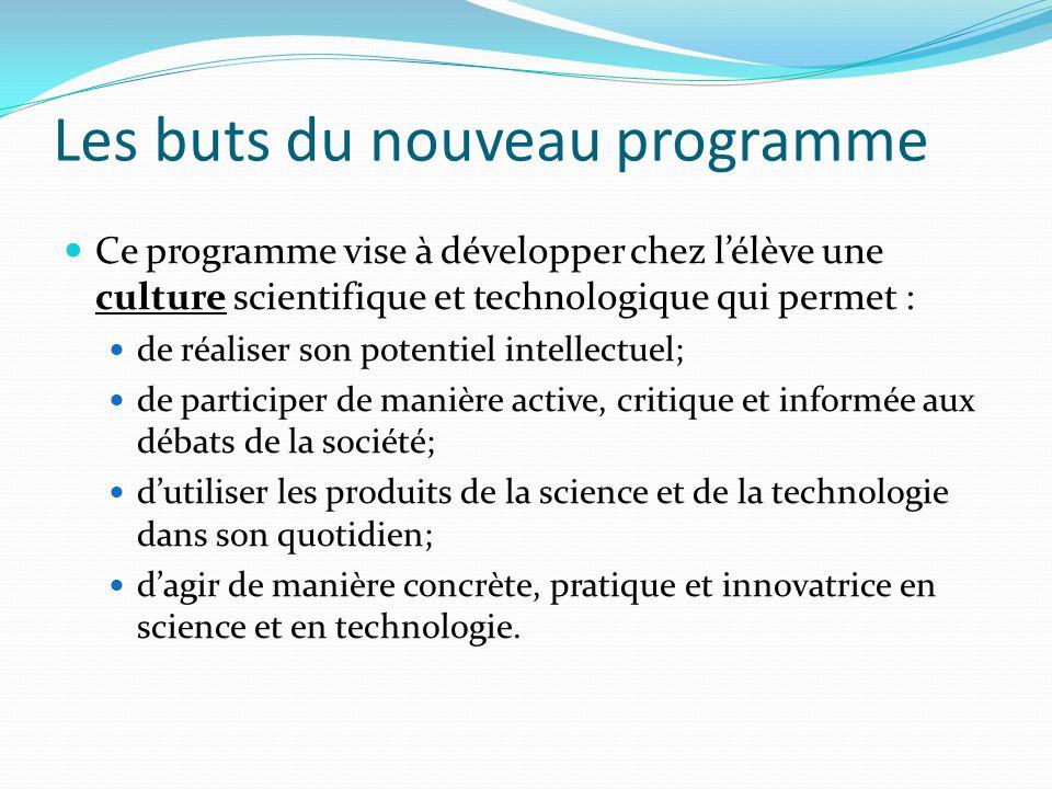 Les buts du nouveau programme Ce programme vise à développer chez lélève une culture scientifique et technologique qui permet : de réaliser son potent