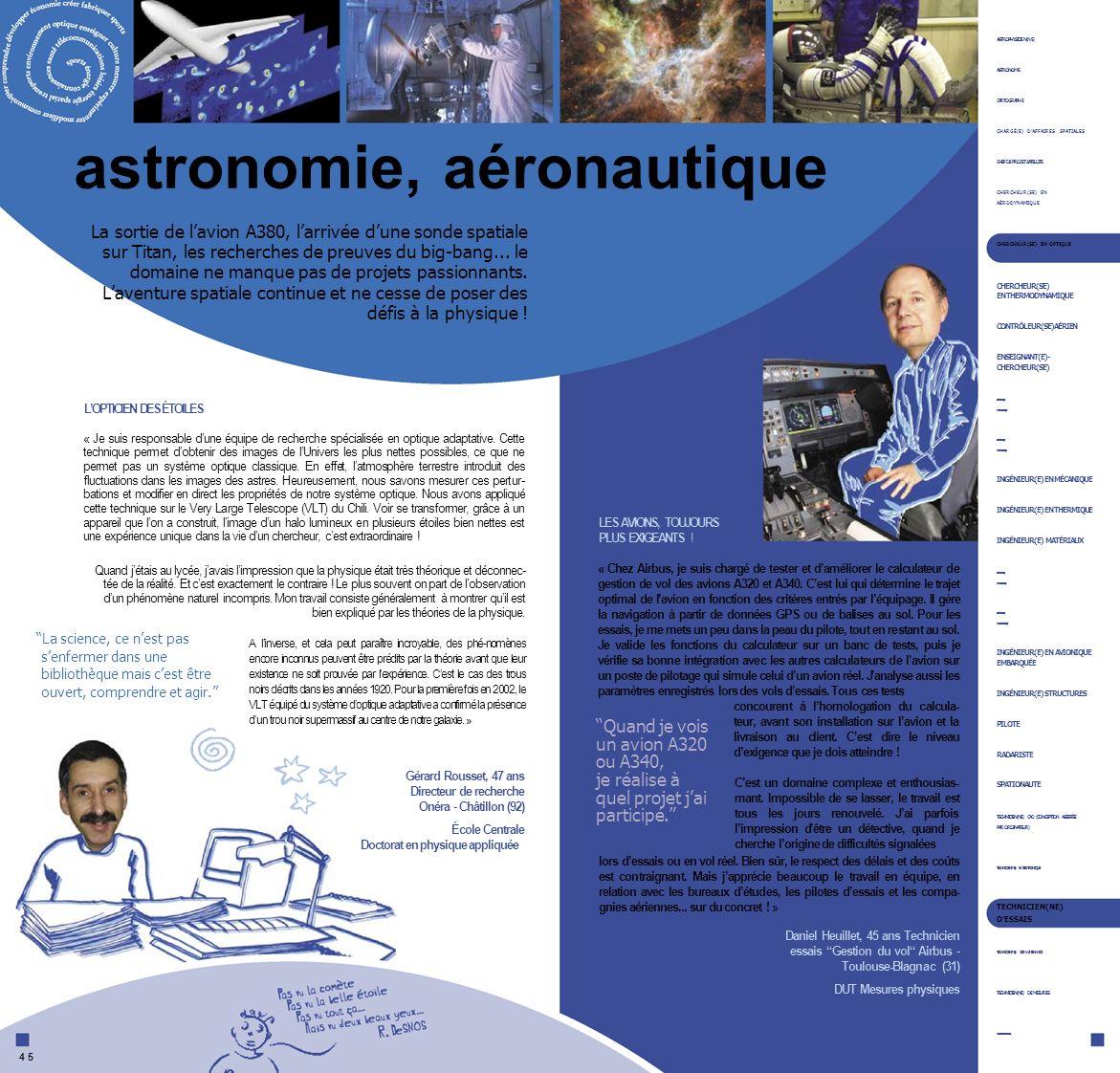 astronomie, aéronautique ASTROPHYSICIEN(NE) ASTRONOME CARTOGRAPHE CHARGÉ(E) DAFFAIRES SPATIALES CHEF DE PROJET SATELLITE CHERCHEUR(SE) EN AÉRODYNAMIQU