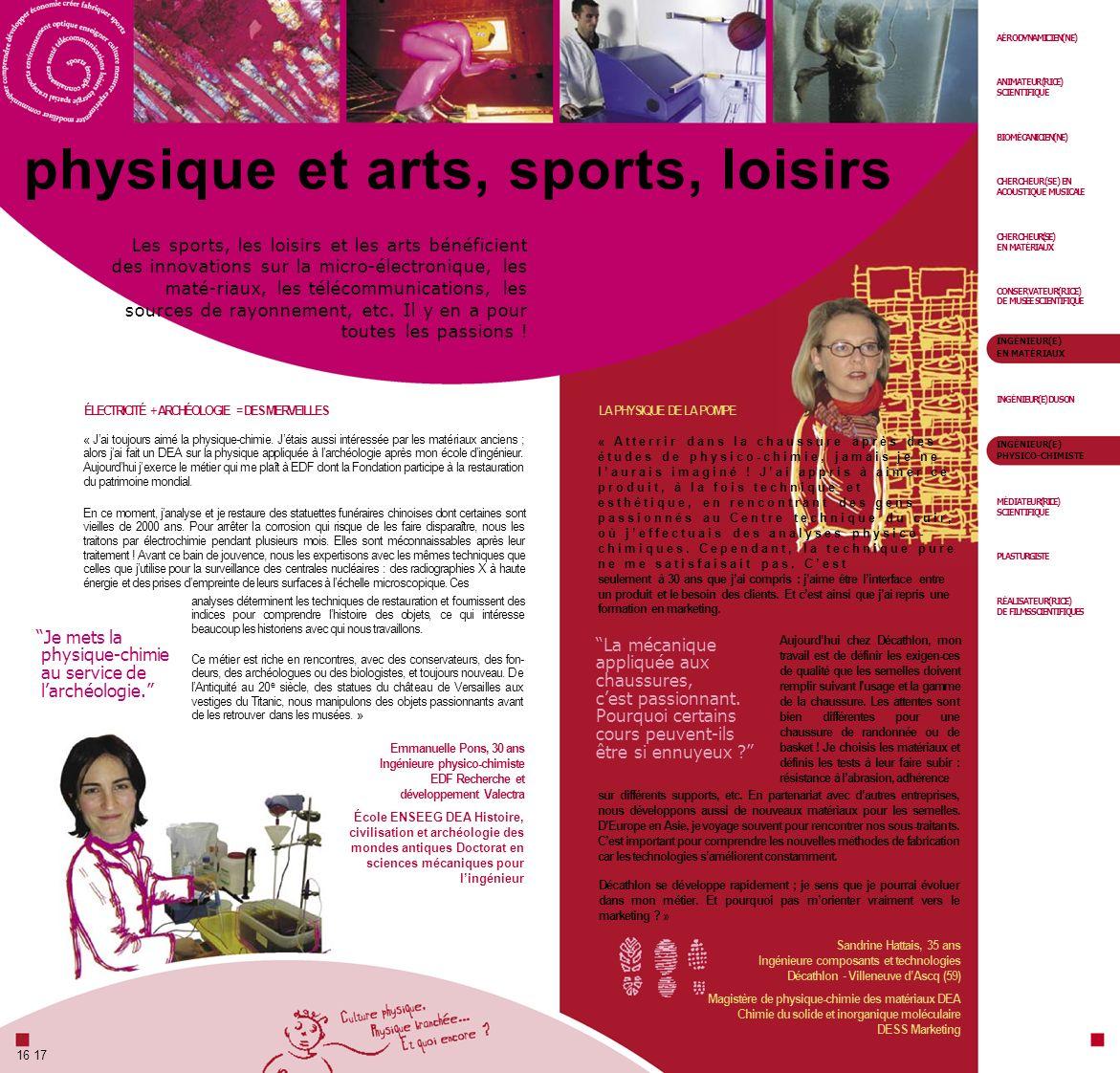 AÉRODYNAMICIEN(NE) ANIMATEUR(RICE) SCIENTIFIQUE physique et arts, sports, loisirs BIOMÉCANICIEN(NE) CHERCHEUR(SE) EN ACOUSTIQUE MUSICALE Les sports, l
