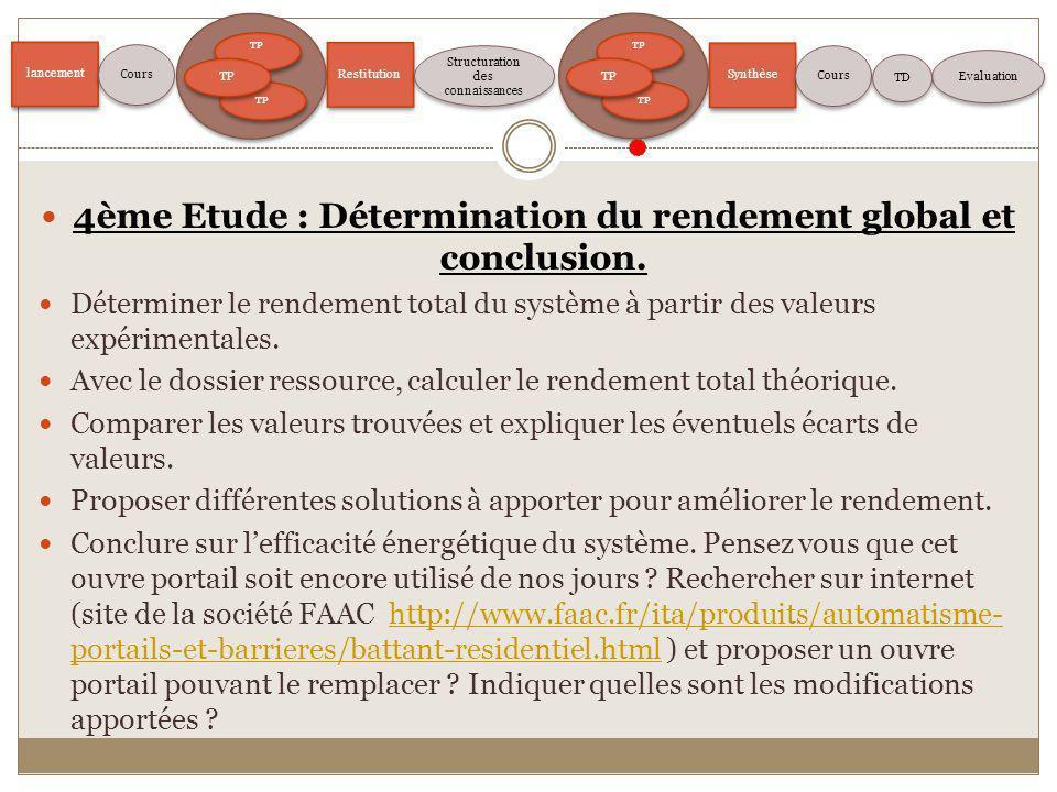 lancement TP Restitution Structuration des connaissances Evaluation Cours TP Synthèse Cours TD 4ème Etude : Détermination du rendement global et concl