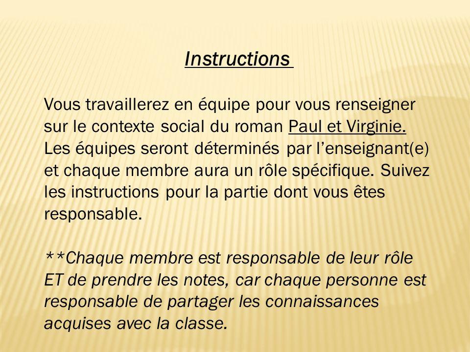 Instructions Vous travaillerez en équipe pour vous renseigner sur le contexte social du roman Paul et Virginie. Les équipes seront déterminés par lens