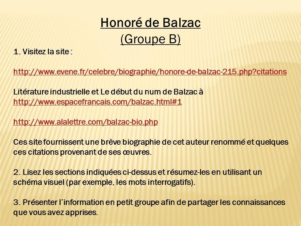 Honoré de Balzac (Groupe B) 1. Visitez la site : http://www.evene.fr/celebre/biographie/honore-de-balzac-215.php?citations Litérature industrielle et