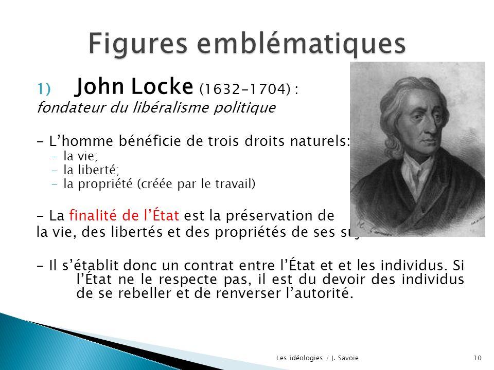 1) John Locke (1632-1704) : fondateur du libéralisme politique - Lhomme bénéficie de trois droits naturels: -la vie; -la liberté; -la propriété (créée