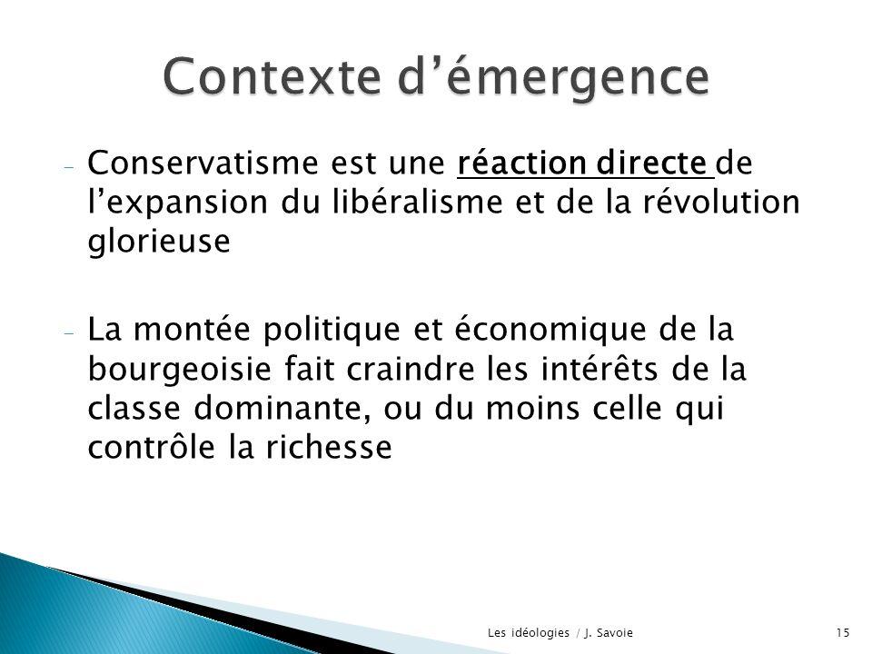 - Conservatisme est une réaction directe de lexpansion du libéralisme et de la révolution glorieuse - La montée politique et économique de la bourgeoi