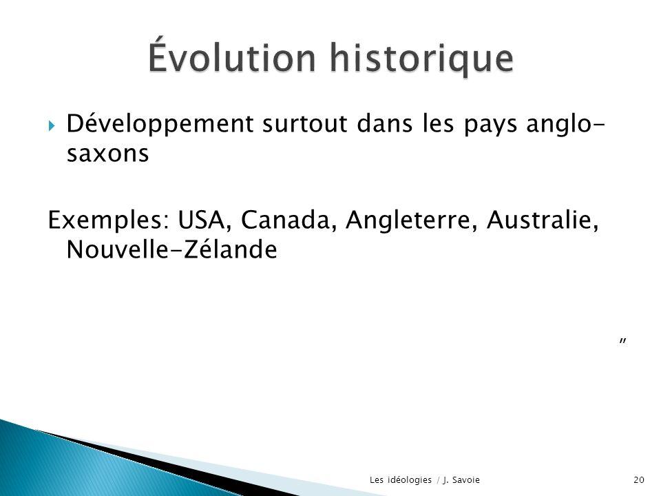 Développement surtout dans les pays anglo- saxons Exemples: USA, Canada, Angleterre, Australie, Nouvelle-Zélande