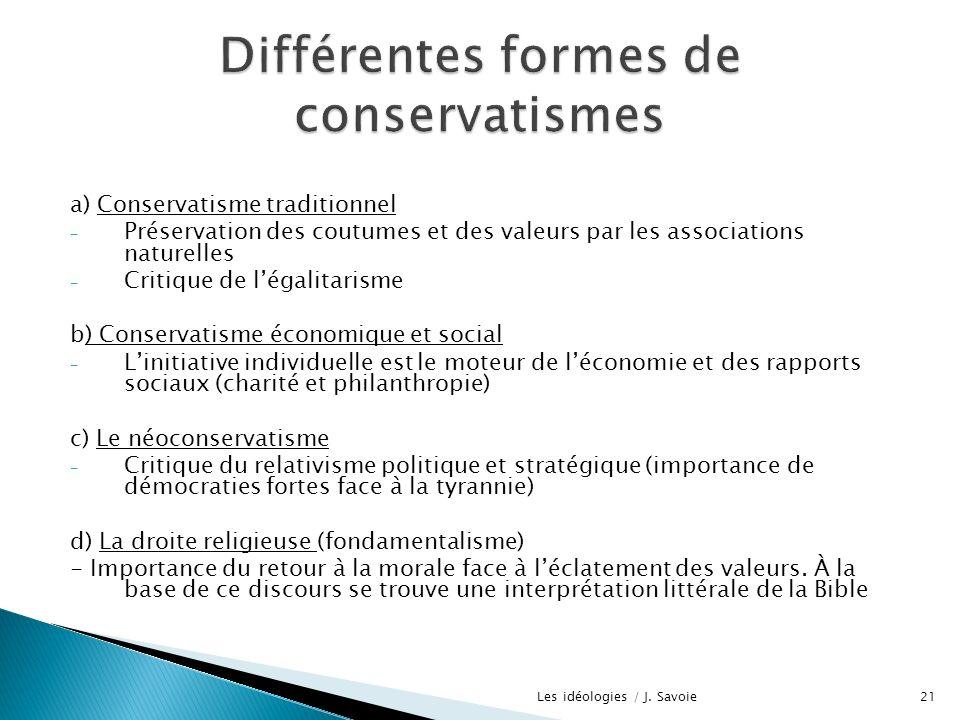 a) Conservatisme traditionnel - Préservation des coutumes et des valeurs par les associations naturelles - Critique de légalitarisme b) Conservatisme