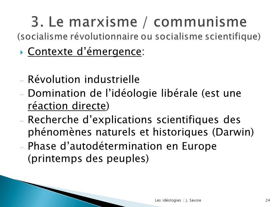 Contexte démergence: - Révolution industrielle - Domination de lidéologie libérale (est une réaction directe) - Recherche dexplications scientifiques