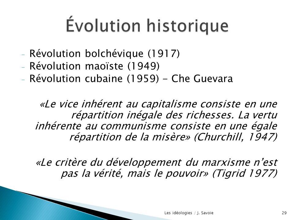 - Révolution bolchévique (1917) - Révolution maoïste (1949) - Révolution cubaine (1959) - Che Guevara «Le vice inhérent au capitalisme consiste en une