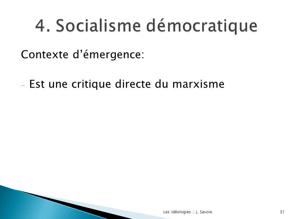 Contexte démergence: - Est une critique directe du marxisme 31Les idéologies / J. Savoie