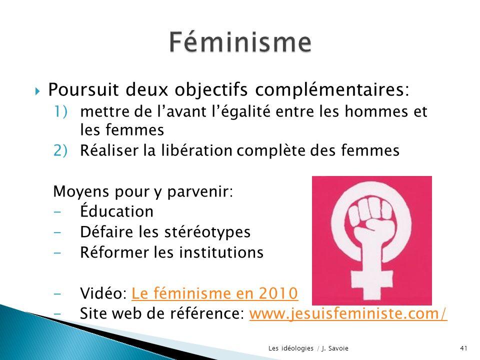 Poursuit deux objectifs complémentaires: 1)mettre de lavant légalité entre les hommes et les femmes 2)Réaliser la libération complète des femmes Moyen