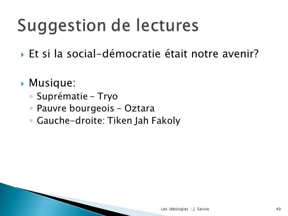 Et si la social-démocratie était notre avenir? Musique: Suprématie – Tryo Pauvre bourgeois – Oztara Gauche-droite: Tiken Jah Fakoly Les idéologies / J