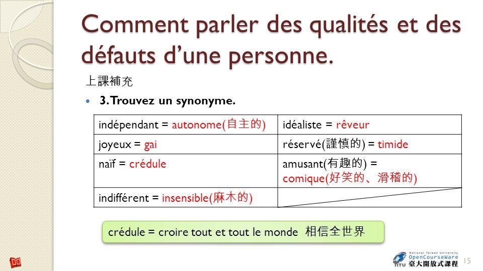 Comment parler des qualités et des défauts dune personne. 3. Trouvez un synonyme. 15 indépendant = autonome( ) idéaliste = rêveur joyeux = gai réservé