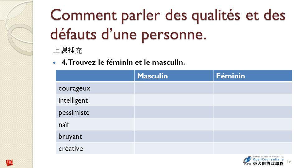 Comment parler des qualités et des défauts dune personne. 4. Trouvez le féminin et le masculin. 16 MasculinFéminin courageux intelligent pessimiste na