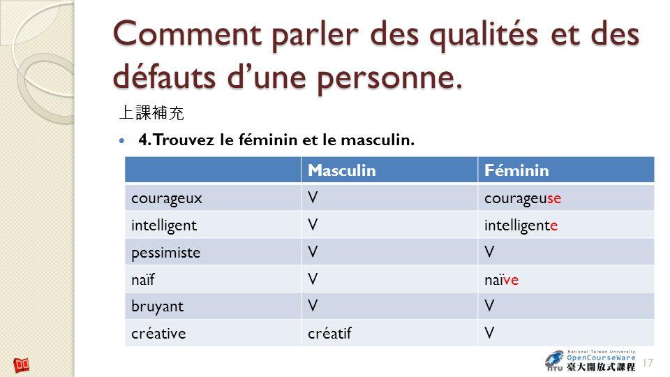 Comment parler des qualités et des défauts dune personne. 4. Trouvez le féminin et le masculin. 17 MasculinFéminin courageuxVcourageuse intelligentVin