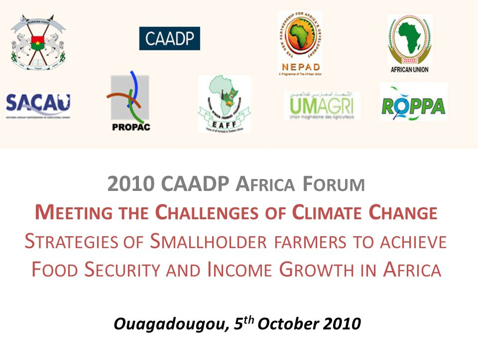 2010 CAADP A FRICA F ORUM M EETING THE C HALLENGES OF C LIMATE C HANGE S TRATEGIES OF S MALLHOLDER FARMERS TO ACHIEVE F OOD S ECURITY AND I NCOME G RO