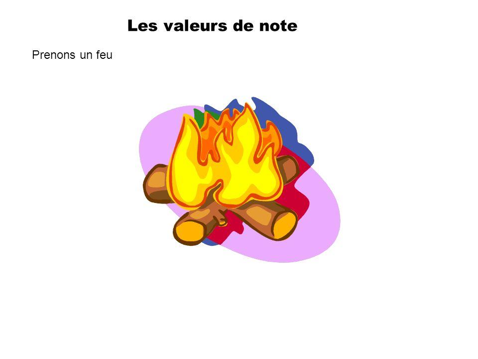 Les valeurs de note Prenons un feu
