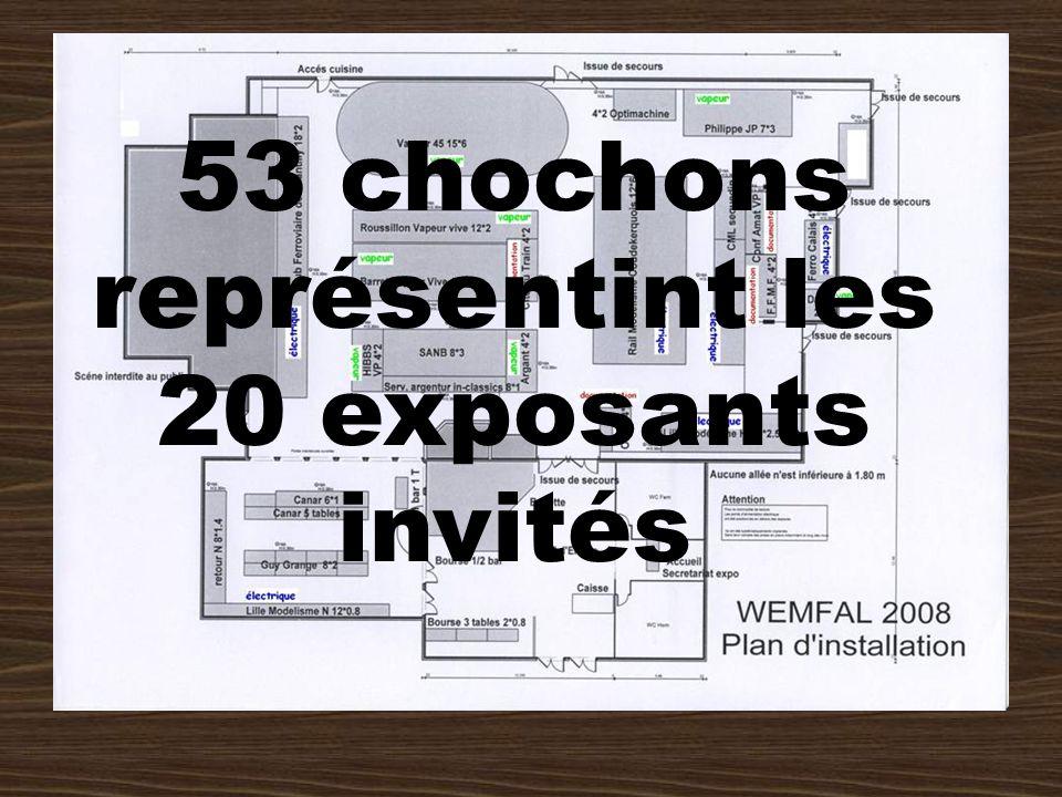 53 chochons représentint les 20 exposants invités