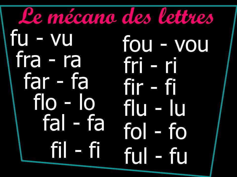 Le mécano des lettres fu - vu fra - ra far - fa flo - lo fal - fa fil - fi fou - vou fri - ri fir - fi flu - lu ful - fu fol - fo