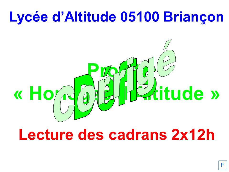Lycée dAltitude 05100 Briançon Projet « Horloges dAltitude » Lecture des cadrans 2x12h F