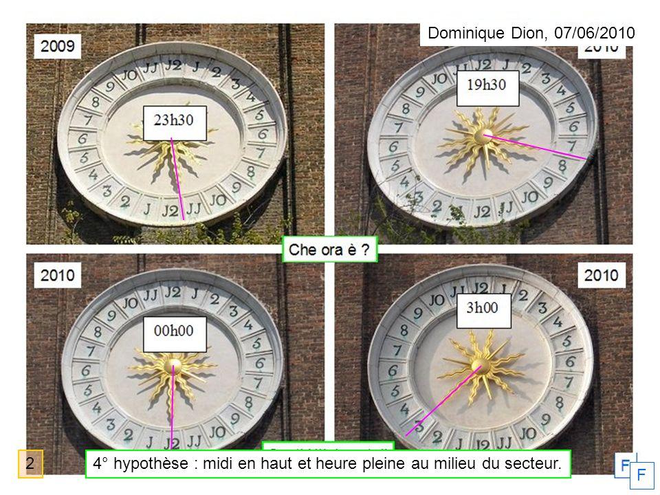F Dominique Dion, 07/06/2010 24° hypothèse : midi en haut et heure pleine au milieu du secteur.