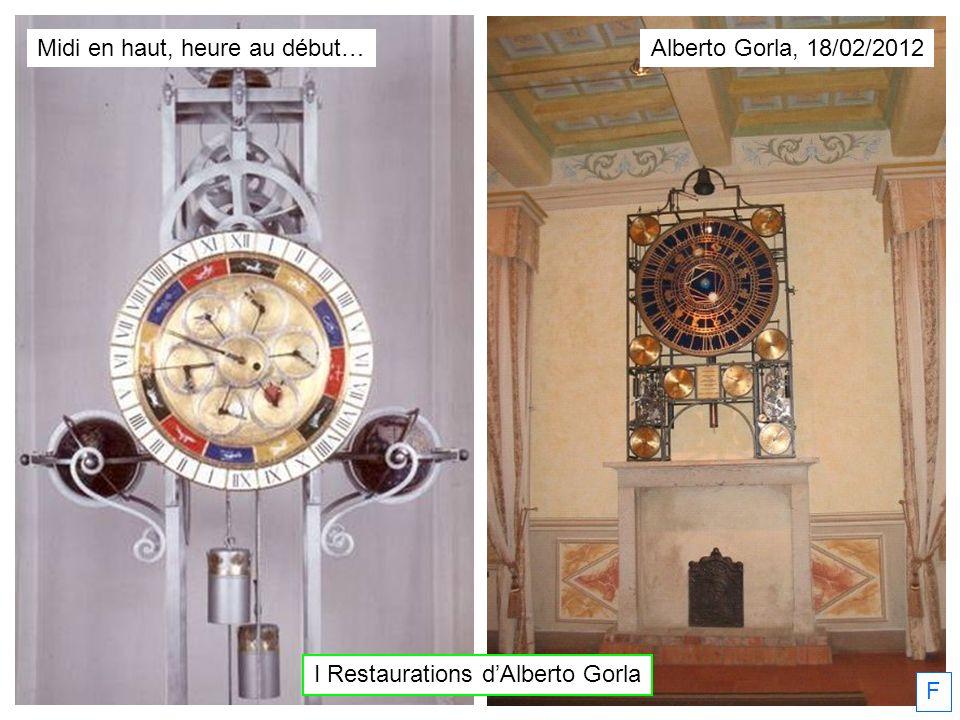 I Restaurations dAlberto Gorla Alberto Gorla, 18/02/2012 F Midi en haut, heure au début…