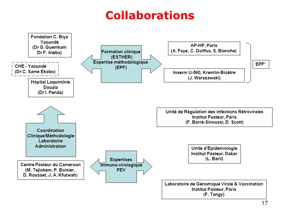 17 Collaborations Centre Pasteur du Cameroun (M. Tejiokem, P. Boisier, D. Rousset, J. A. Kfutwah) Fondation C. Biya Yaoundé (Dr G. Guemkam Dr F. Ateba