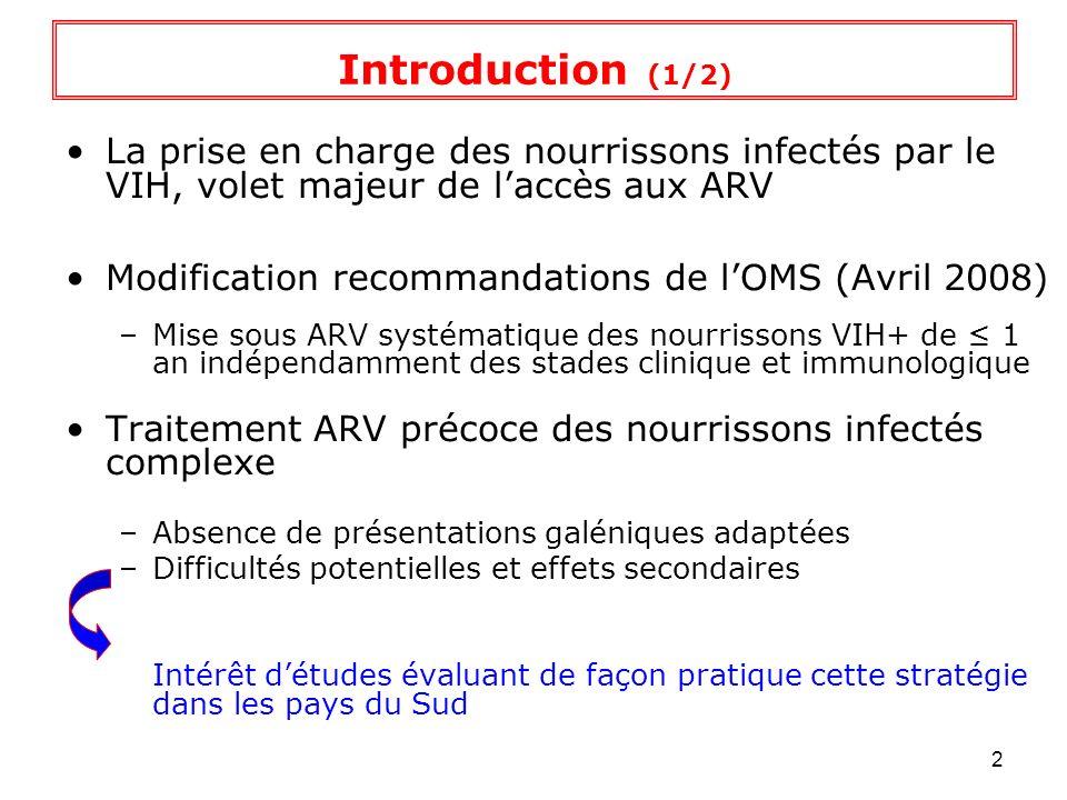 3 Étude transversale préliminaire « EPIPEV » : –Cameroun et RCA (2004-2006) –Objectif:quantifier et comparer la persistance des anticorps aux vaccins du PEV –Diminution de la persistance anticorps DTPC et surtout Rougeole chez les enfants infectés par le VIH –Niveau danticorps plus faibles que ceux attendus en population chez les enfants exposés au VIH mais non infectés [1,2] quel est limpact de linfection VIH de la mère sur le développement du système immunitaire de lenfant non infecté .