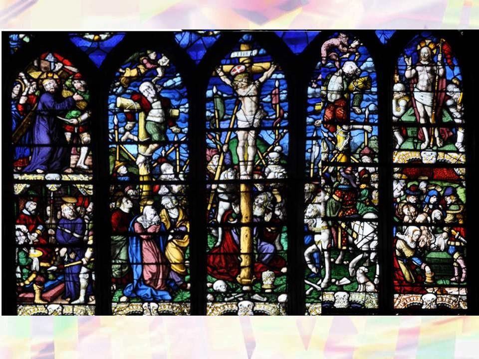 Le vitrail, daté de 1539, est signé Laurent Sodec (peintre-verrier de Quimper). Il est réalisé suite à une commande des fabri- ciens Allain et Joce co
