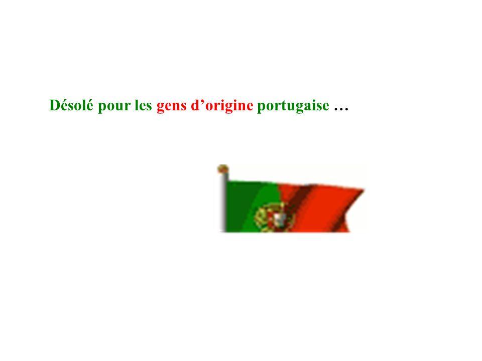 Désolé pour les gens dorigine portugaise …