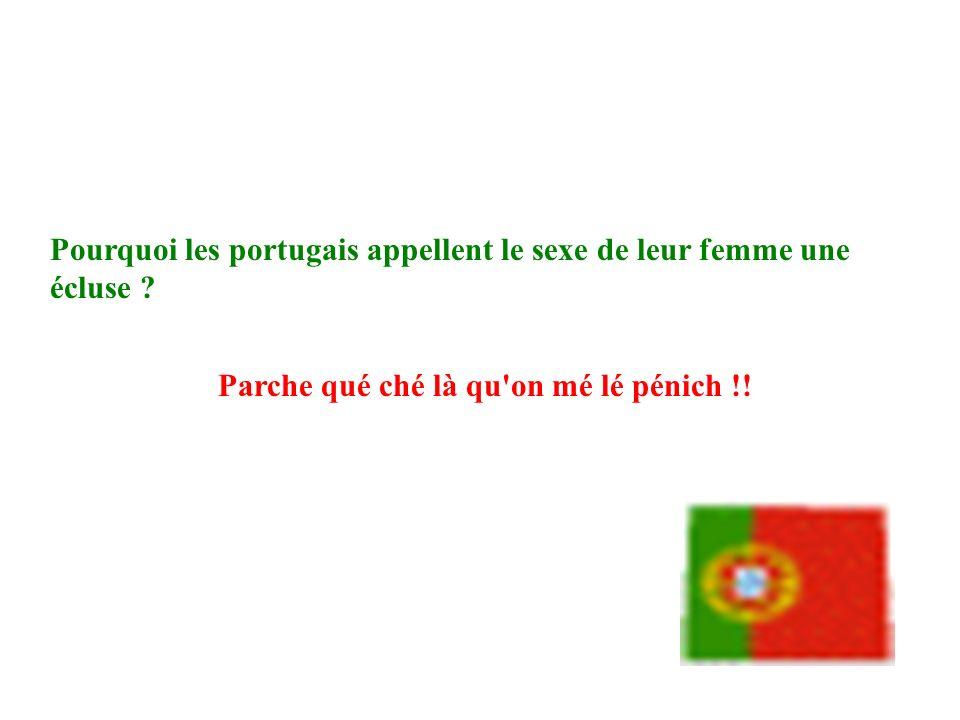 Pourquoi les portugais appellent le sexe de leur femme une écluse ? Parche qué ché là qu'on mé lé pénich !!
