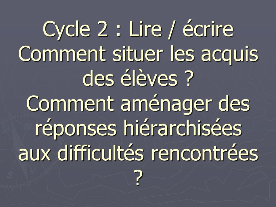 Cycle 2 : Lire / écrire Comment situer les acquis des élèves ? Comment aménager des réponses hiérarchisées aux difficultés rencontrées ?