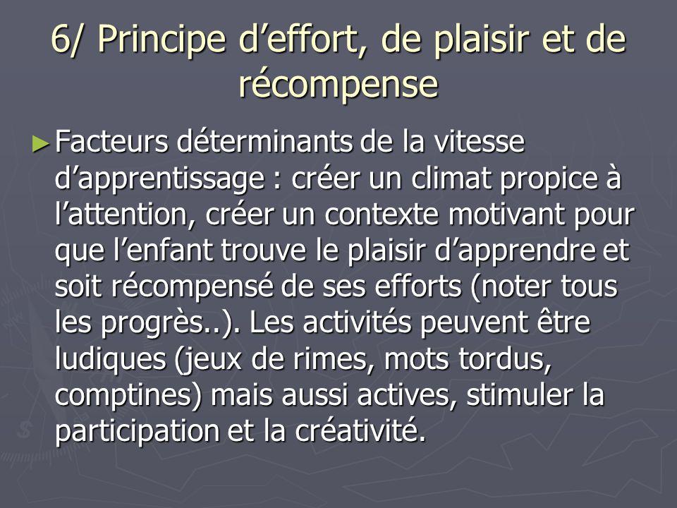 6/ Principe deffort, de plaisir et de récompense Facteurs déterminants de la vitesse dapprentissage : créer un climat propice à lattention, créer un c