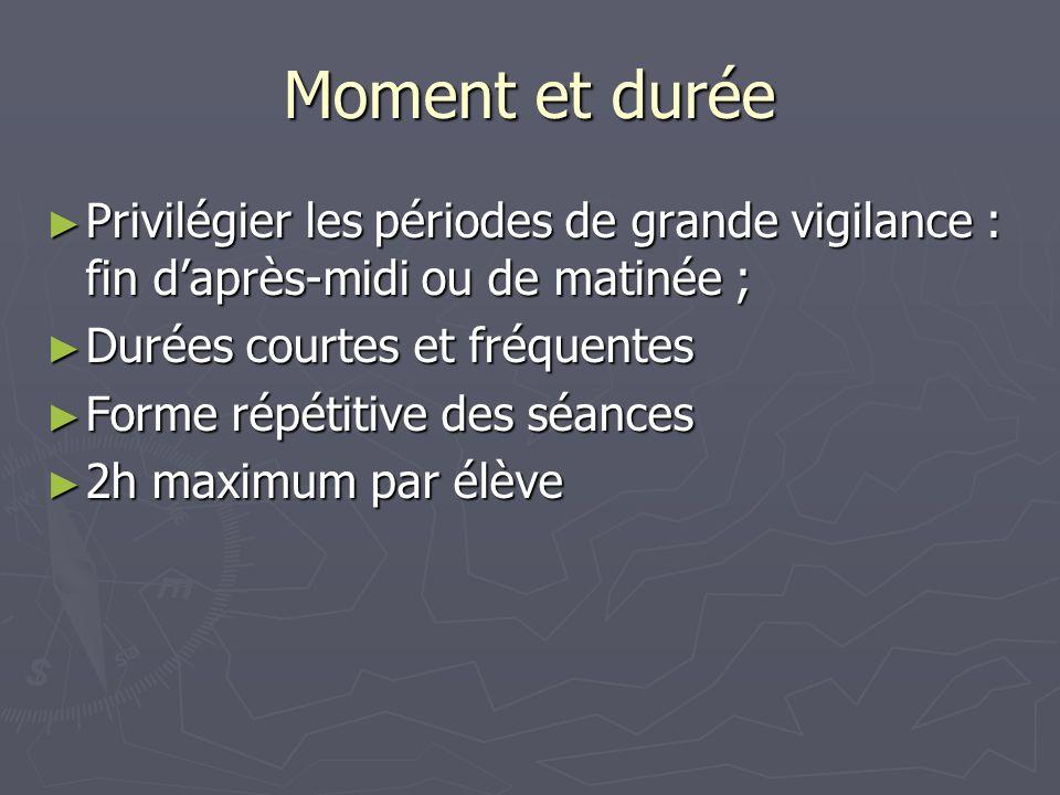 Moment et durée Privilégier les périodes de grande vigilance : fin daprès-midi ou de matinée ; Privilégier les périodes de grande vigilance : fin dapr