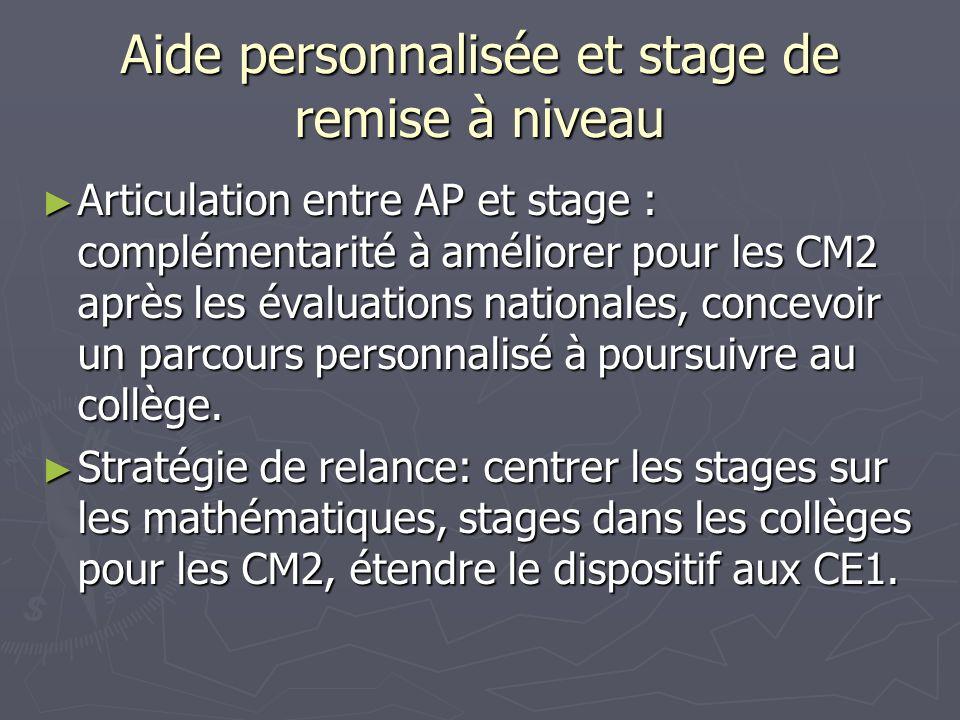 Aide personnalisée et stage de remise à niveau Articulation entre AP et stage : complémentarité à améliorer pour les CM2 après les évaluations nationa