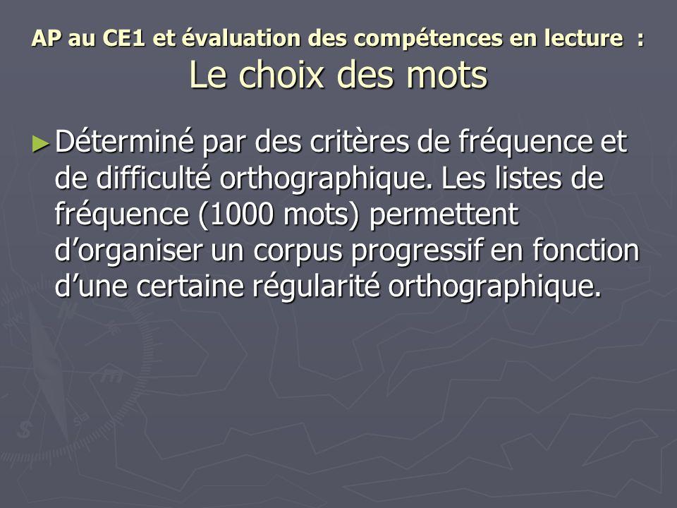 AP au CE1 et évaluation des compétences en lecture : Le choix des mots Déterminé par des critères de fréquence et de difficulté orthographique. Les li
