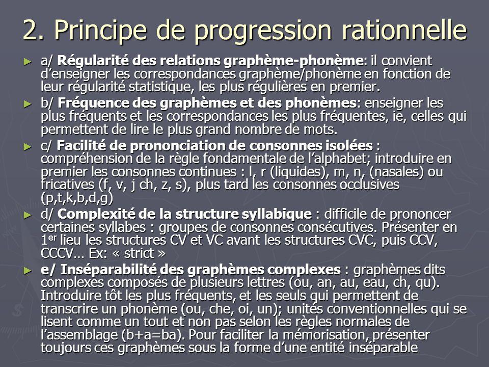 2. Principe de progression rationnelle a/ Régularité des relations graphème-phonème: il convient denseigner les correspondances graphème/phonème en fo