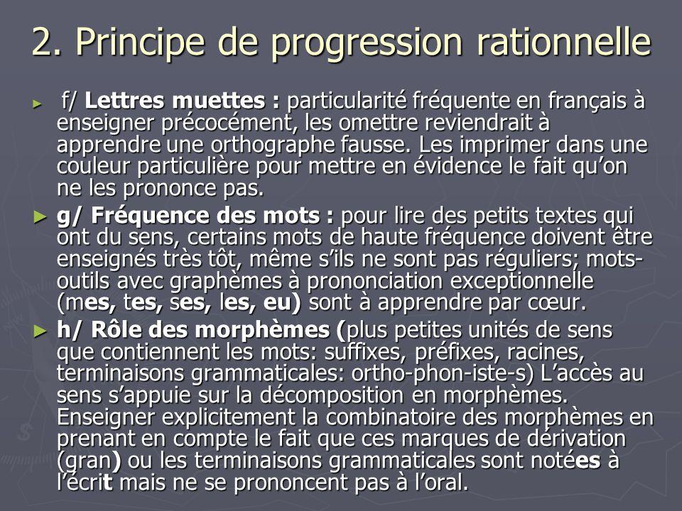 2. Principe de progression rationnelle f/ Lettres muettes : particularité fréquente en français à enseigner précocément, les omettre reviendrait à app