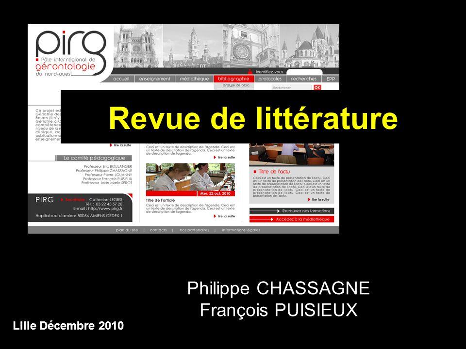 Lille Décembre 2010 Revue de littérature Philippe CHASSAGNE François PUISIEUX