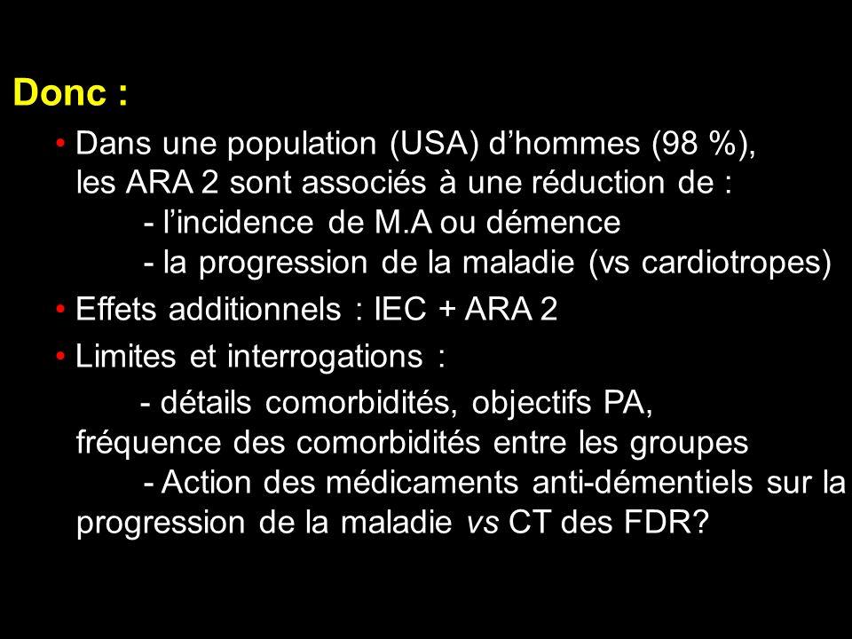 Donc : Dans une population (USA) dhommes (98 %), les ARA 2 sont associés à une réduction de : - lincidence de M.A ou démence - la progression de la ma