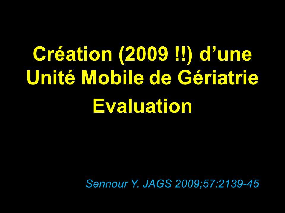 Création (2009 !!) dune Unité Mobile de Gériatrie Evaluation Sennour Y. JAGS 2009;57:2139-45