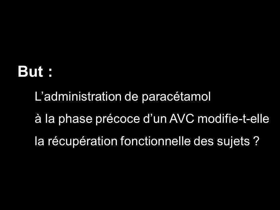 But : Ladministration de paracétamol à la phase précoce dun AVC modifie-t-elle la récupération fonctionnelle des sujets ?