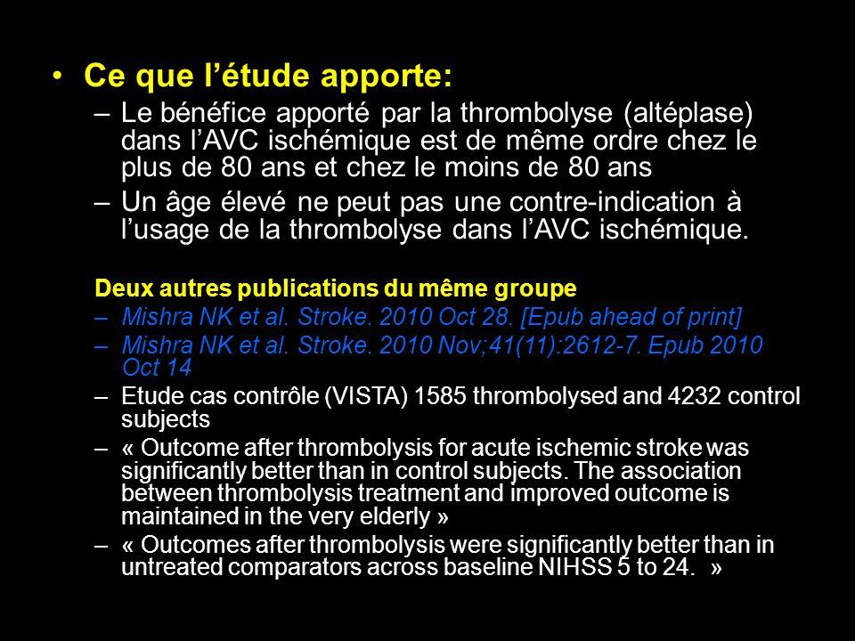Ce que létude apporte: –Le bénéfice apporté par la thrombolyse (altéplase) dans lAVC ischémique est de même ordre chez le plus de 80 ans et chez le mo