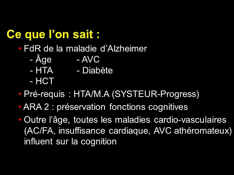 Ce que lon sait : FdR de la maladie dAlzheimer - Âge- AVC - HTA- Diabète - HCT Pré-requis : HTA/M.A (SYSTEUR-Progress) ARA 2 : préservation fonctions